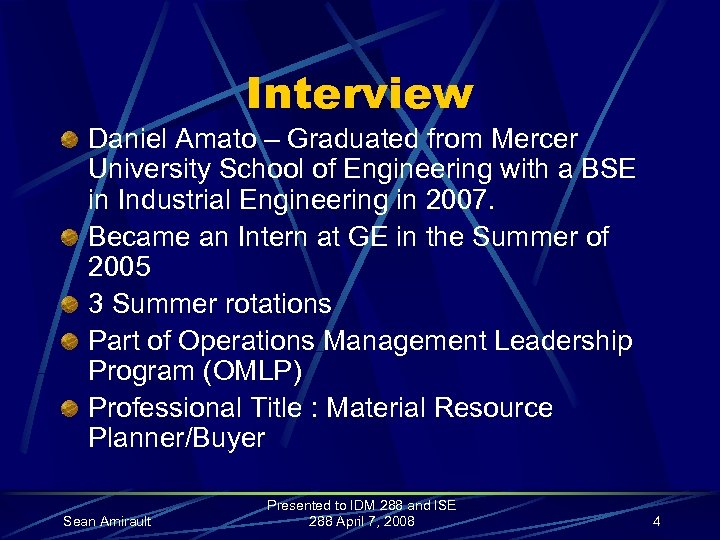 Interview Daniel Amato – Graduated from Mercer University School of Engineering with a BSE