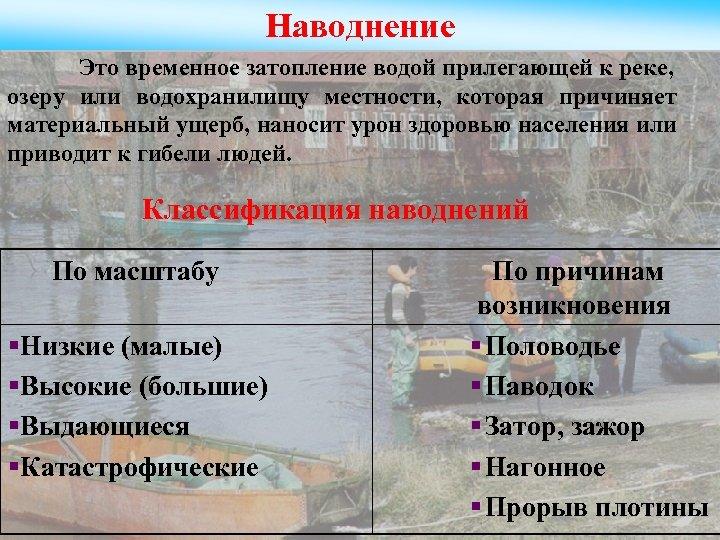 Наводнение Это временное затопление водой прилегающей к реке, озеру или водохранилищу местности, которая причиняет