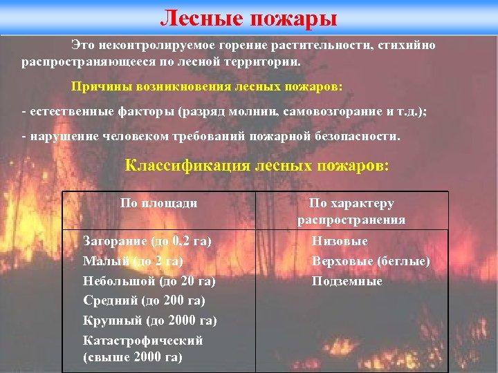 Лесные пожары Это неконтролируемое горение растительности, стихийно распространяющееся по лесной территории. Причины возникновения лесных
