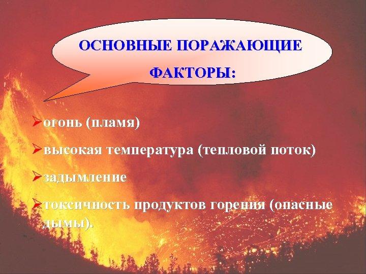 ОСНОВНЫЕ ПОРАЖАЮЩИЕ ФАКТОРЫ: Øогонь (пламя) Øвысокая температура (тепловой поток) Øзадымление Øтоксичность продуктов горения (опасные