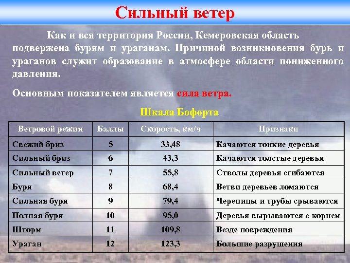 Сильный ветер Как и вся территория России, Кемеровская область подвержена бурям и ураганам. Причиной