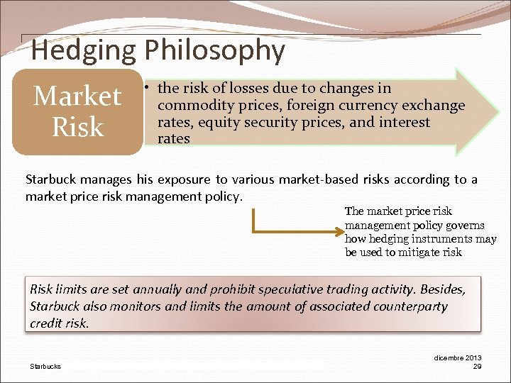 Hedging Philosophy Market Risk • the risk of losses due to changes in commodity