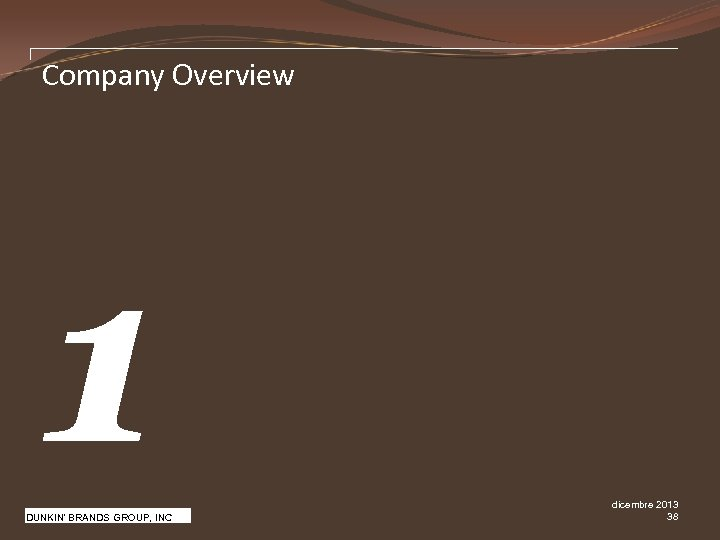 Company Overview 1 Pw. C DUNKIN' BRANDS GROUP, INC dicembre 2013 38