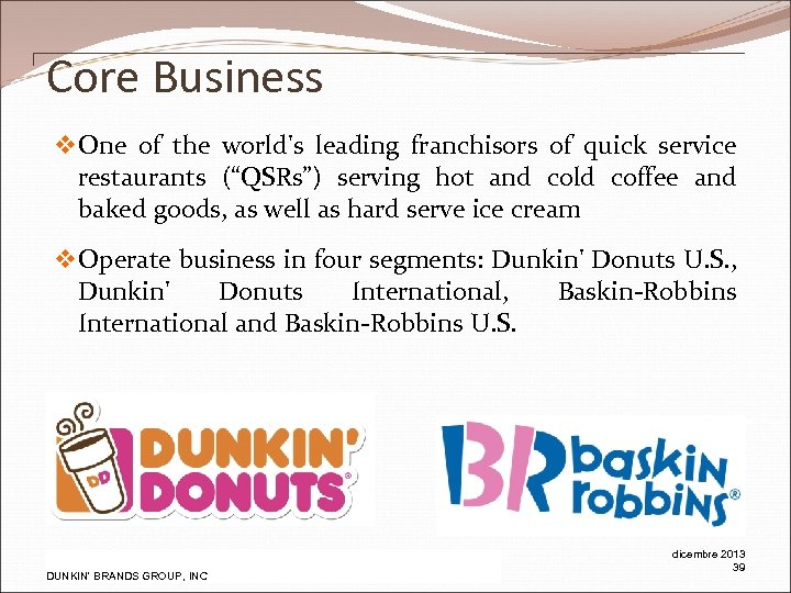 """Core Business v One of the world's leading franchisors of quick service restaurants (""""QSRs"""")"""