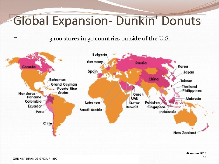 Global Expansion- Dunkin' Donuts 3, 100 stores in 30 countries outside of the U.