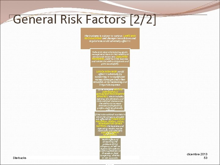 General Risk Factors [2/2] The business is subject to various LAWS AND REGULATIONS and