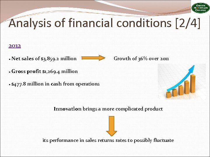 Analysis of financial conditions [2/4] 2012 ● Net sales of $3, 859. 2 million