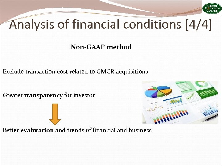 Analysis of financial conditions [4/4] Non-GAAP method Exclude transaction cost related to GMCR acquisitions