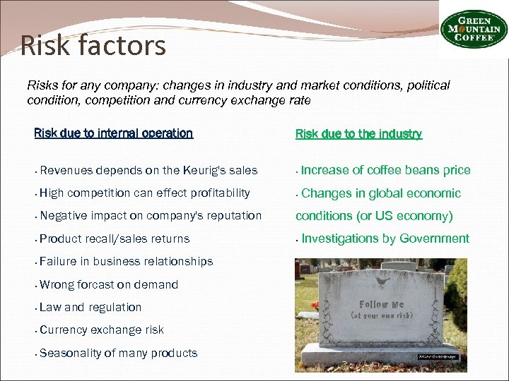 Risk factors Risks for any company: changes in industry and market conditions, political condition,