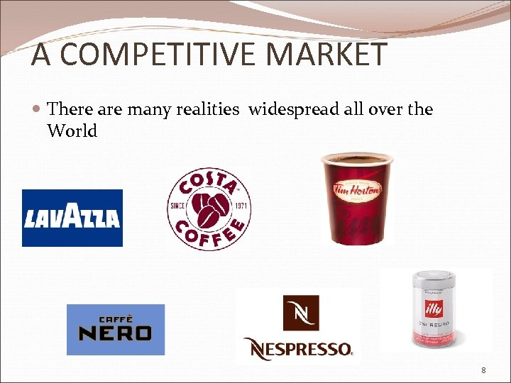 A COMPETITIVE MARKET There are many realities widespread all over the World 8