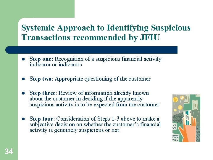 Systemic Approach to Identifying Suspicious Transactions recommended by JFIU l l Step two: Appropriate