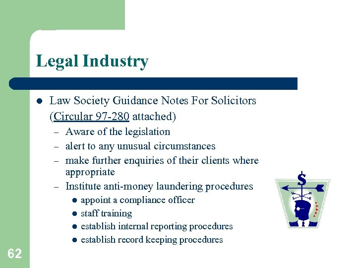 Legal Industry l Law Society Guidance Notes For Solicitors (Circular 97 -280 attached) –
