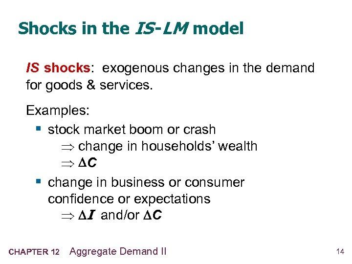 Shocks in the IS -LM model IS shocks: exogenous changes in the demand for