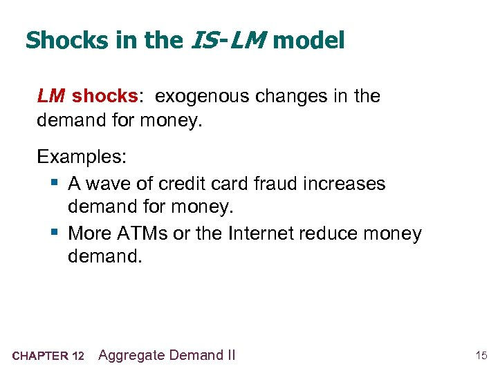 Shocks in the IS -LM model LM shocks: exogenous changes in the demand for