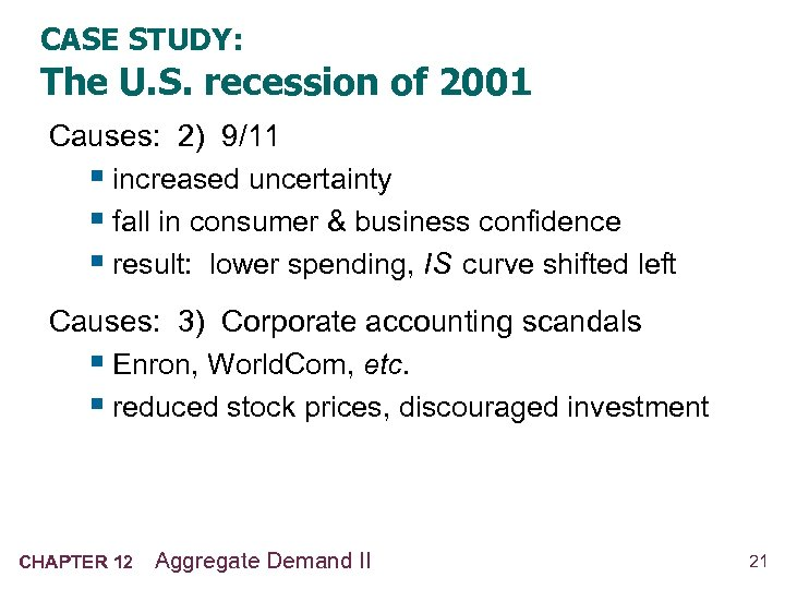 CASE STUDY: The U. S. recession of 2001 Causes: 2) 9/11 § increased uncertainty