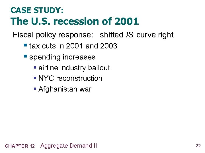 CASE STUDY: The U. S. recession of 2001 Fiscal policy response: shifted IS curve