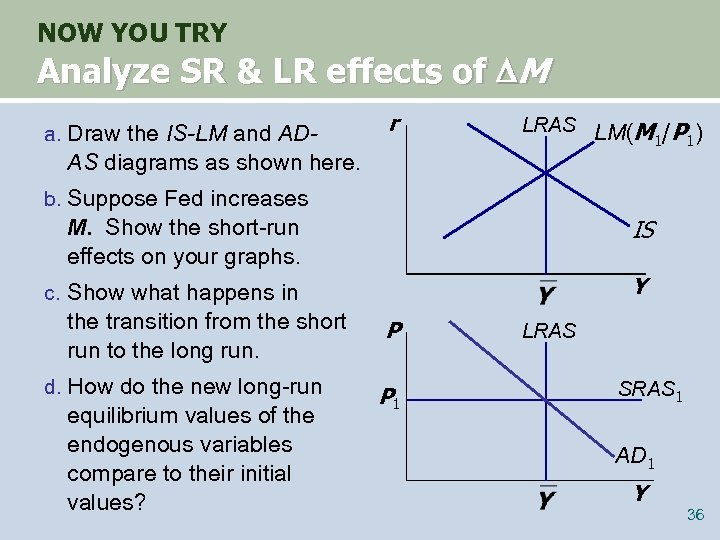 NOW YOU TRY Analyze SR & LR effects of M a. Draw the IS-LM