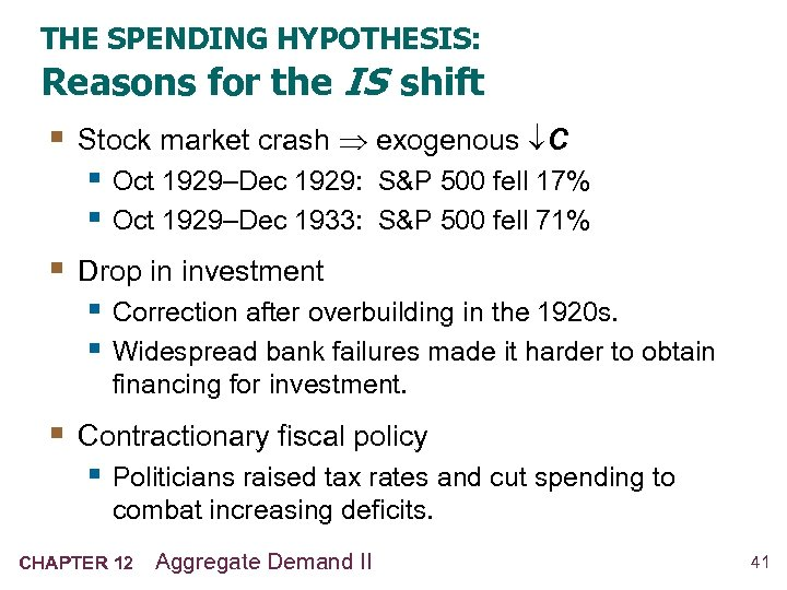 THE SPENDING HYPOTHESIS: Reasons for the IS shift § Stock market crash exogenous C