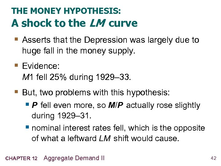 THE MONEY HYPOTHESIS: A shock to the LM curve § Asserts that the Depression