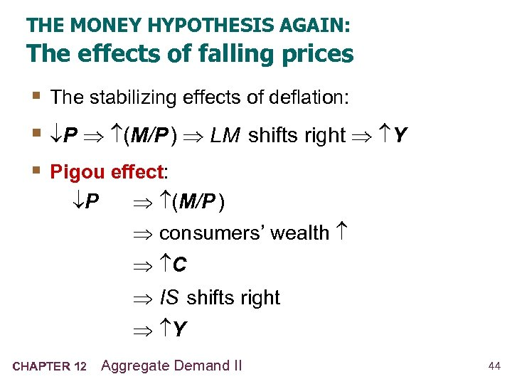 THE MONEY HYPOTHESIS AGAIN: The effects of falling prices § The stabilizing effects of