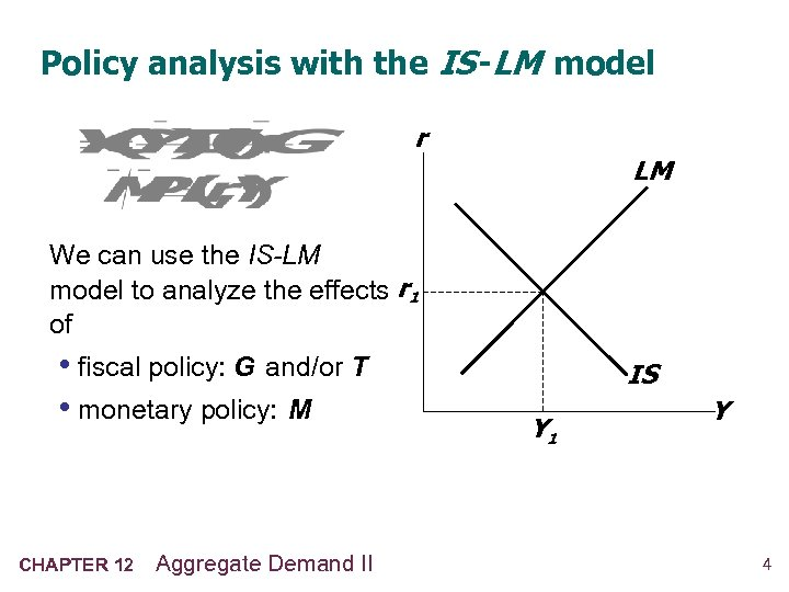 Policy analysis with the IS -LM model r LM We can use the IS-LM
