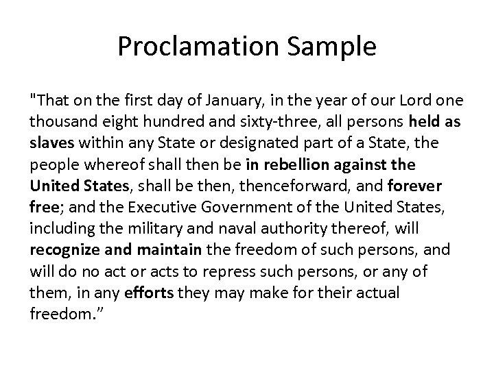 Proclamation Sample