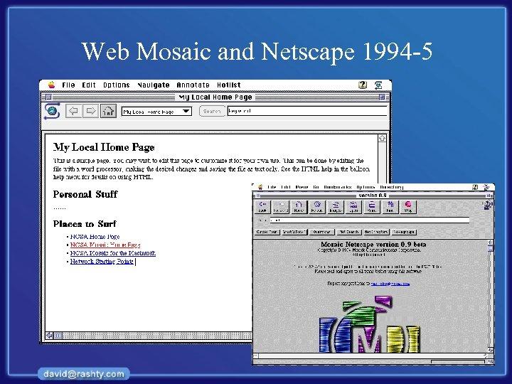 Web Mosaic and Netscape 1994 -5