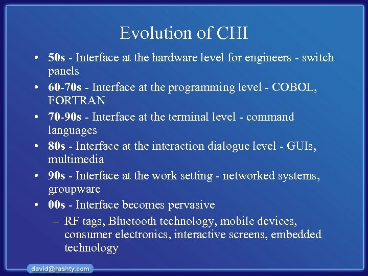 Evolution of CHI • 50 s - Interface at the hardware level for engineers