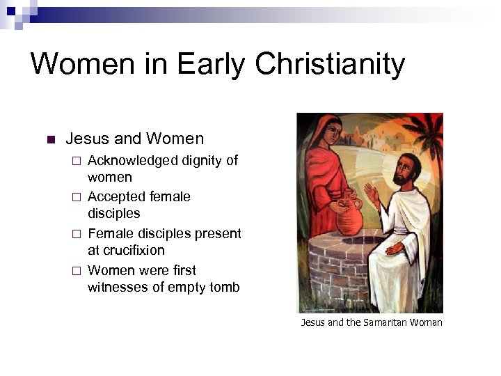 Women in Early Christianity n Jesus and Women Acknowledged dignity of women ¨ Accepted