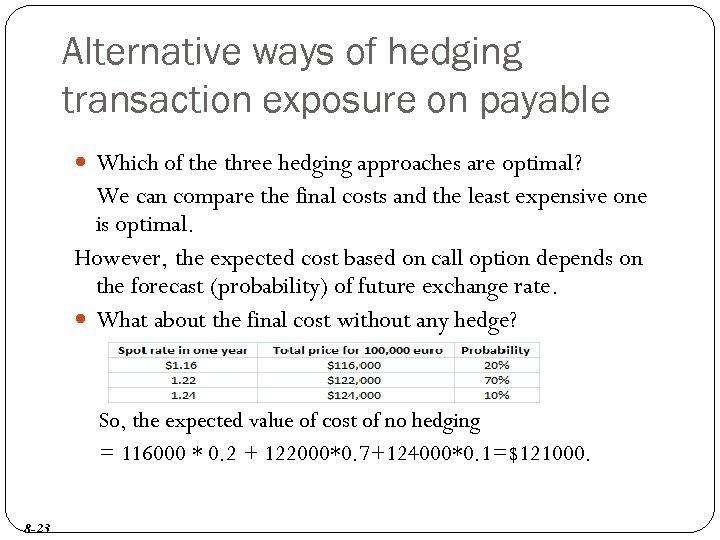 non hedging techniques to reduce transaction exposure Transaction exposure is the economic exposure created when contractual obligations are denominated in foreign currencies the primary difference between operating and transaction exposure is that with transaction exposure the.