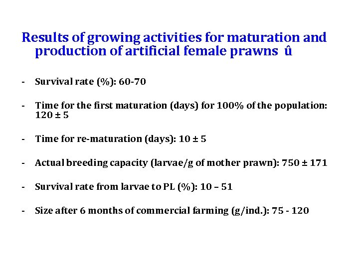 Results of growing activities for maturation and production of artificial female prawns û -