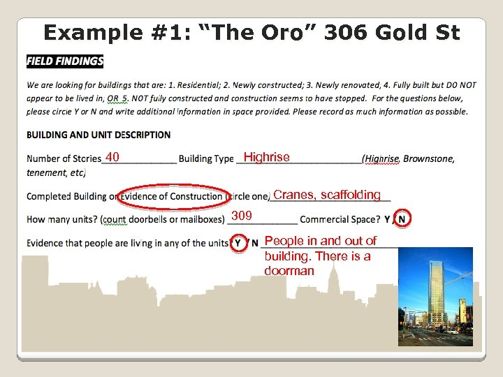 "Example #1: ""The Oro"" 306 Gold St 40 Highrise Cranes, scaffolding 309 People in"