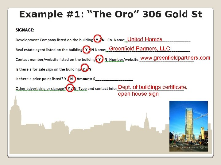 """Example #1: """"The Oro"""" 306 Gold St United Homes Greenfield Partners, LLC www. greenfieldpartners."""