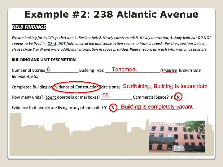 Example #2: 238 Atlantic Avenue 6 Tenement Scaffolding, Building is incomplete 55 Building is