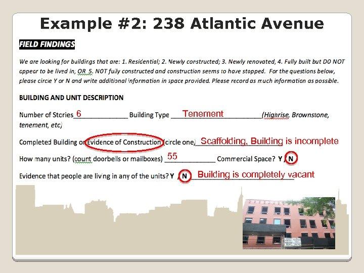 Example #2: 238 Atlantic Avenue 6 Tenement Scaffolding, Building is incomplete 55 Building is