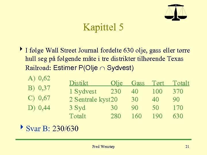 Kapittel 5 4 I følge Wall Street Journal fordelte 630 olje, gass eller tørre