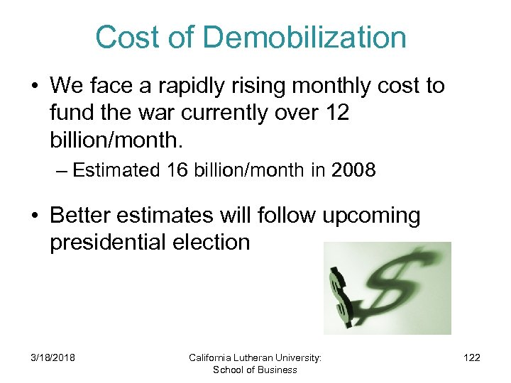 Cost of Demobilization • We face a rapidly rising monthly cost to fund the