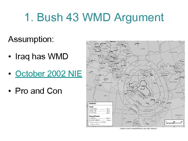 1. Bush 43 WMD Argument Assumption: • Iraq has WMD • October 2002 NIE