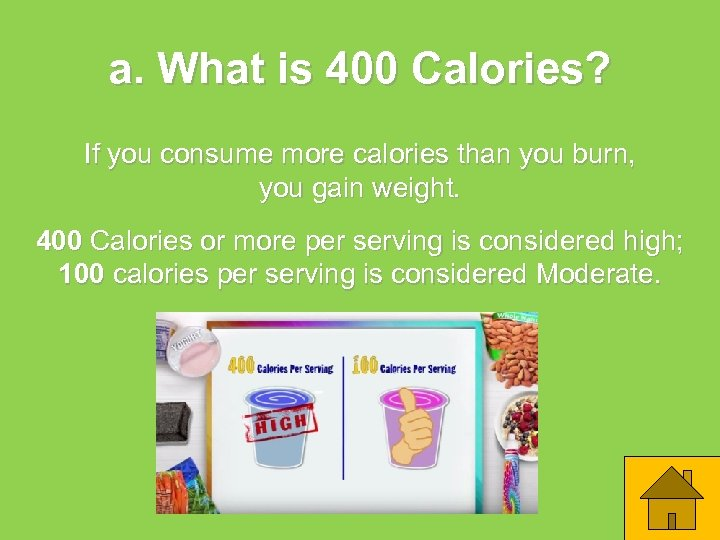 a. What is 400 Calories? If you consume more calories than you burn, you