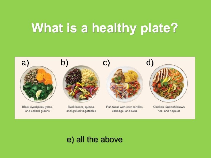What is a healthy plate? a) b) c) d)