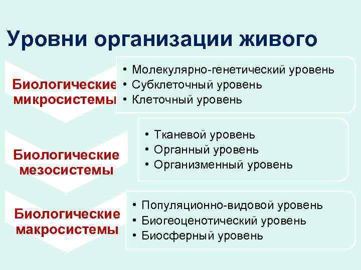 Уровни организации живого • Молекулярно-генетический уровень Биологические • Субклеточный уровень микросистемы • Клеточный уровень