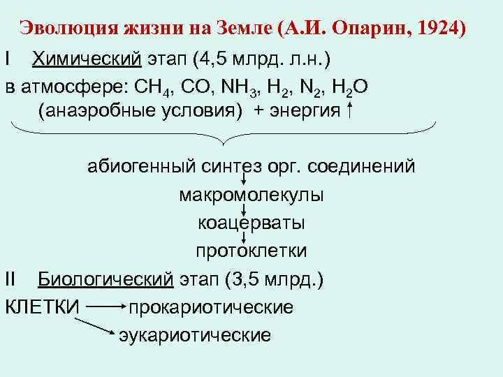 Эволюция жизни на Земле (А. И. Опарин, 1924) I Химический этап (4, 5 млрд.
