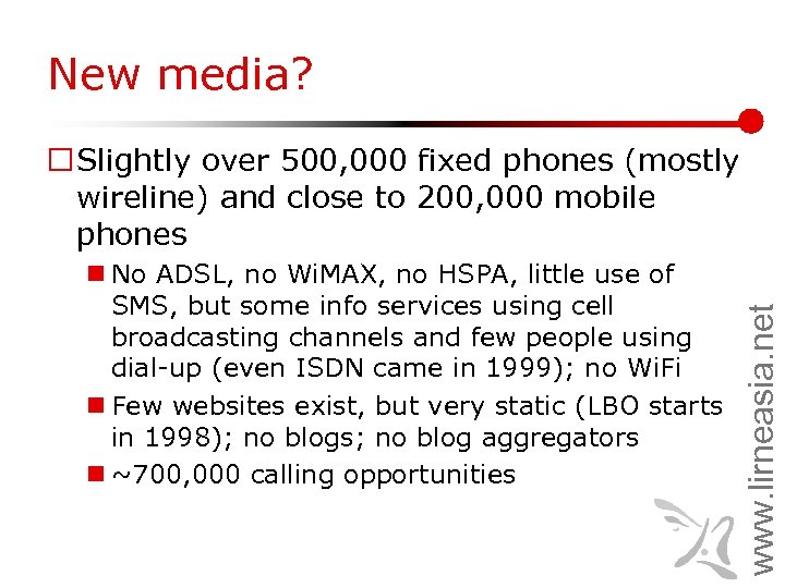 New media? n No ADSL, no Wi. MAX, no HSPA, little use of SMS,