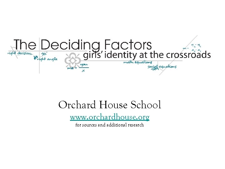 Orchard House School www. orchardhouse. org for sources and additional research