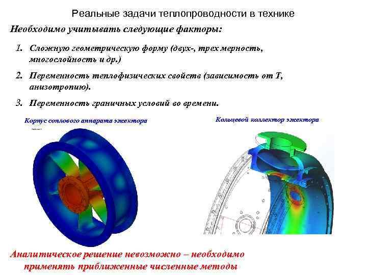 Реальные задачи теплопроводности в технике Необходимо учитывать следующие факторы: 1. Сложную геометрическую форму (двух-,
