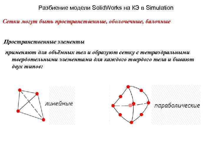 Разбиение модели Solid. Works на КЭ в Simulation Сетки могут быть пространственные, оболочечные, балочные