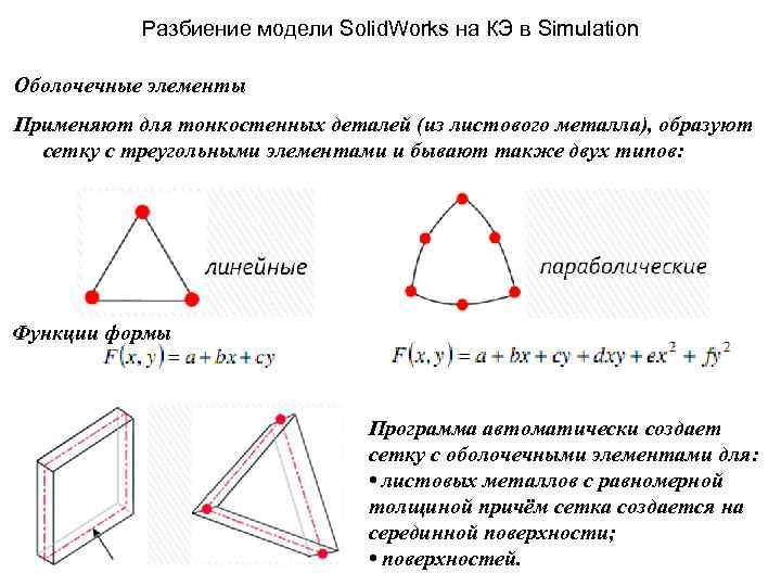 Разбиение модели Solid. Works на КЭ в Simulation Оболочечные элементы Применяют для тонкостенных деталей