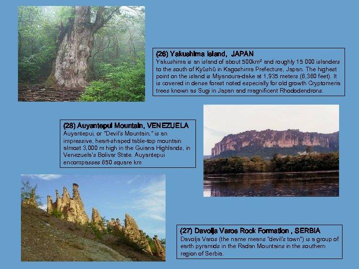 (26) Yakushima Island, JAPAN Yakushima is an island of about 500 km² and roughly