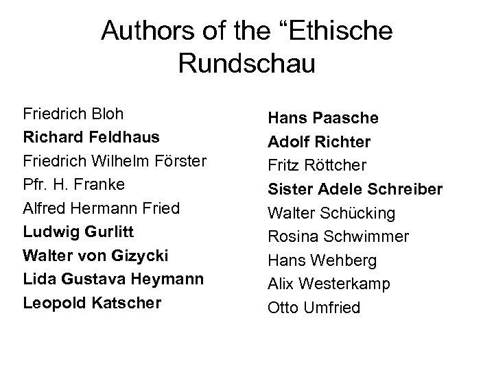 """Authors of the """"Ethische Rundschau Friedrich Bloh Richard Feldhaus Friedrich Wilhelm Förster Pfr. H."""