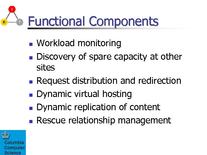 Functional Components n n n Workload monitoring Discovery of spare capacity at other sites